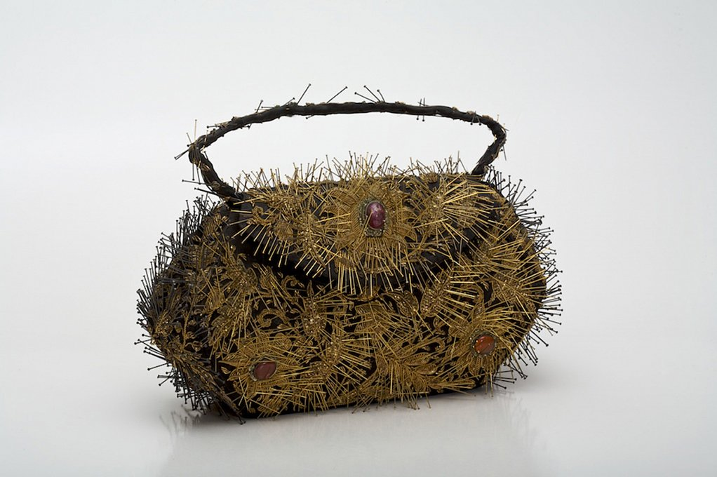 Dangerous Beauty,embroidered handbag, brass pins, 